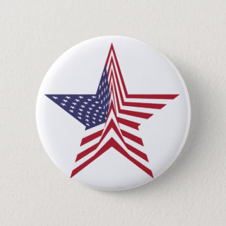 A Star With An American Flag Pattern Pinback Button