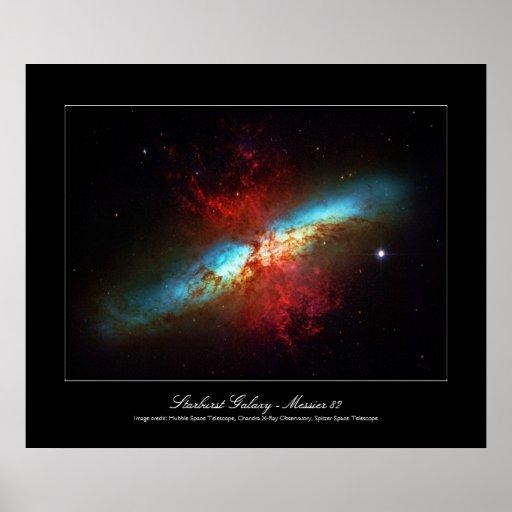 A Starburst Galaxy - Messier 82 (Cigar Galaxy) Print