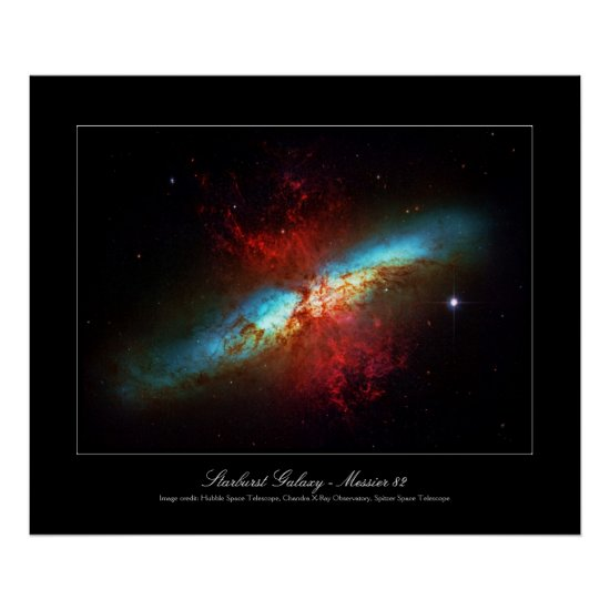 A Starburst Galaxy - Messier 82 (Cigar Galaxy) Poster