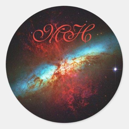 A Starburst Galaxy - Messier 82 (Cigar Galaxy) Classic Round Sticker