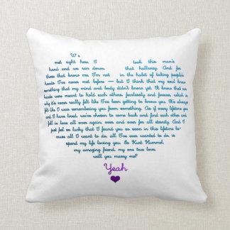 A staricase proposal pillows
