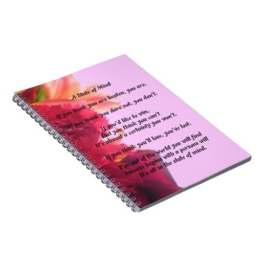 A State of Mind Poem Note Book Journal