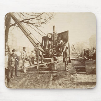 A steam crane in operation during the building of mouse pad