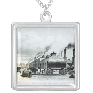 A Steam-Engine Manufactory and Iron Works Silver Plated Necklace