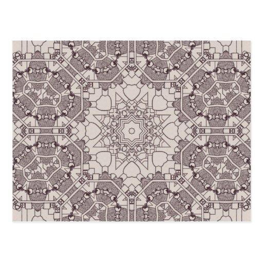 A Steampunk Mandala Diagram Postcard
