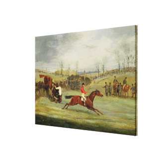 A Steeplechase, Another Hedge (oil on canvas) Canvas Print