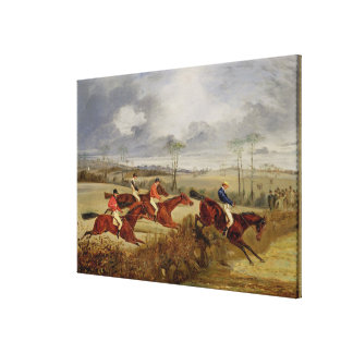 A Steeplechase, Near the Finish (oil on canvas) Canvas Print