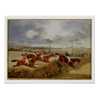 A Steeplechase, Near the Finish (oil on canvas) Poster