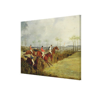 A Steeplechase, Taking a Hedge and Ditch (oil on c Canvas Print