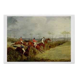 A Steeplechase, Taking a Hedge and Ditch (oil on c Print