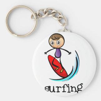 A stickman surfing basic round button keychain