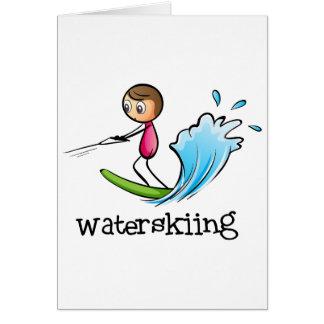 A stickman waterskiing greeting card