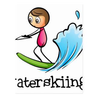 A stickman waterskiing postcard