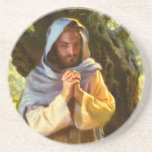 """A Still and Quiet Time Stone Coaster<br><div class=""""desc"""">Jesus spent a lot of time alone praying. A Still and Quiet Time,  beautifully painted by artist Frank Ordaz,  was one of Jesus&#39; quiet moments in the garden alone. Buy just one coaster or the whole set. Mix and match.</div>"""