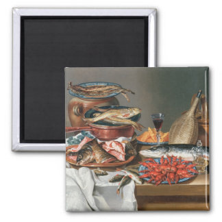 A Still Life of a Fish, Trout and Baby Lobsters, 1 2 Inch Square Magnet