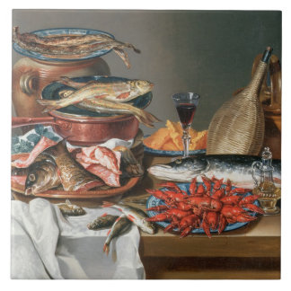 A Still Life of a Fish, Trout and Baby Lobsters, 1 Ceramic Tile