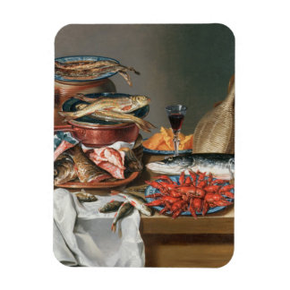 A Still Life of a Fish, Trout and Baby Lobsters, 1 Rectangular Photo Magnet