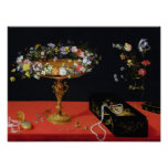 A Still Life of a Tazza with Flowers Poster