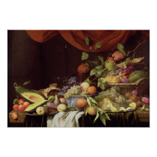 A Still Life of Fruit on a Draped Ledge Poster