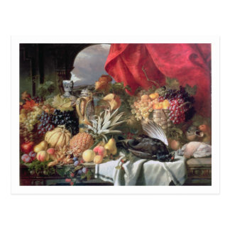 A Still Life of Game Birds and Numerous Fruits Postcard