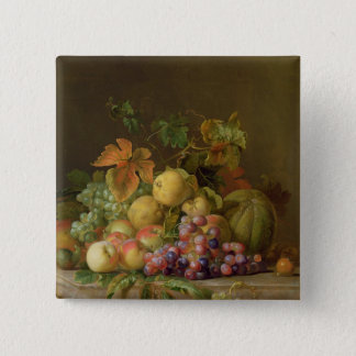 A Still Life of Melons, Grapes and Peaches Button