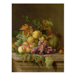 A Still Life of Melons, Grapes and Peaches Postcard