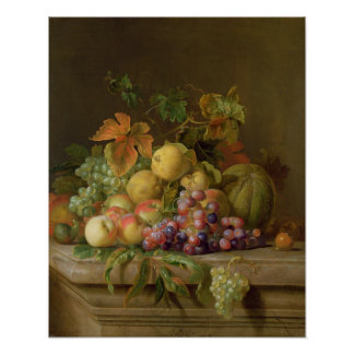 A Still Life of Melons, Grapes and Peaches Poster