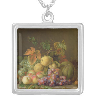 A Still Life of Melons, Grapes and Peaches Silver Plated Necklace