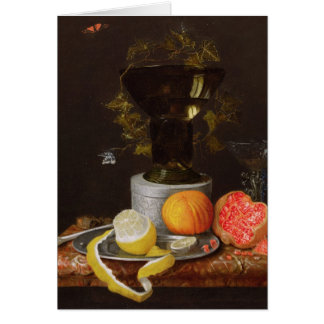 A Still Life with a Glass and Fruit on a Ledge Greeting Card
