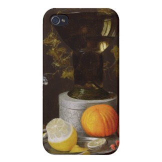 A Still Life with a Glass and Fruit on a Ledge iPhone 4 Cover