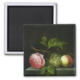 A Still Life with a Rose, Grapes and Peach 2 Inch Square Magnet