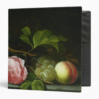 A Still Life with a Rose, Grapes and Peach 3 Ring Binder