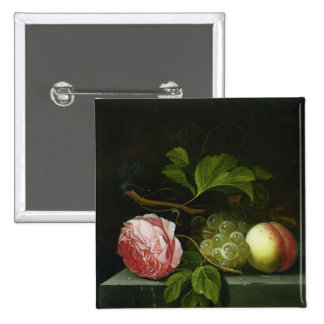 A Still Life with a Rose, Grapes and Peach 2 Inch Square Button