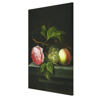 A Still Life with a Rose, Grapes and Peach Canvas Print