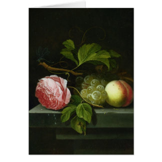 A Still Life with a Rose, Grapes and Peach Greeting Card