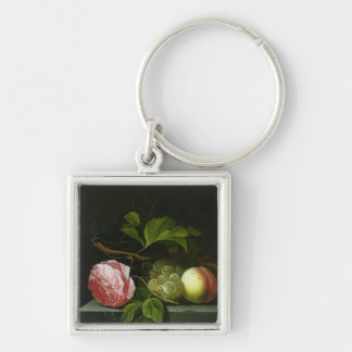 A Still Life with a Rose, Grapes and Peach Silver-Colored Square Keychain
