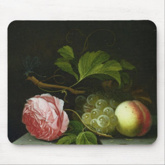 A Still Life with a Rose, Grapes and Peach Mouse Pad