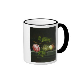 A Still Life with a Rose, Grapes and Peach Ringer Coffee Mug