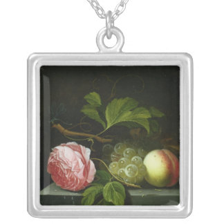 A Still Life with a Rose, Grapes and Peach Square Pendant Necklace
