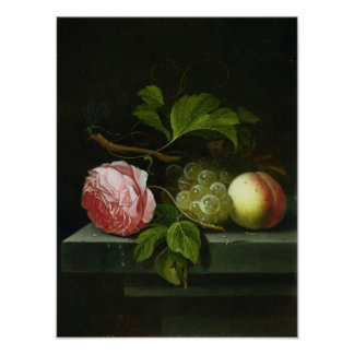 A Still Life with a Rose, Grapes and Peach Poster