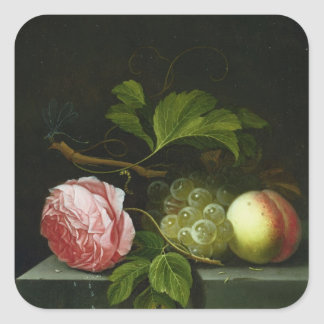 A Still Life with a Rose, Grapes and Peach Square Sticker