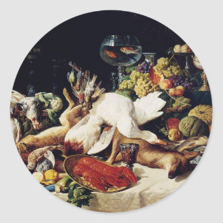 A Still Life With Fruit & Fish by Lucas Schaefels Classic Round Sticker