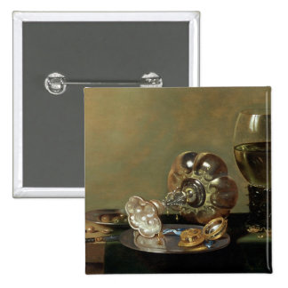 A still life with glass of wine pinback button