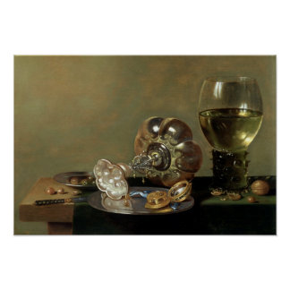 A still life with glass of wine poster