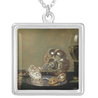 A still life with glass of wine silver plated necklace