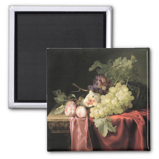 A still life with grapes, plums magnet