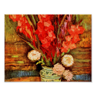 A Still Life With Real Gladiolas Poster