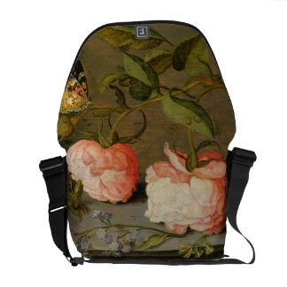 A Still Life with Roses on a Ledge Courier Bag