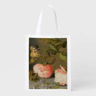 A Still Life with Roses on a Ledge Reusable Grocery Bag