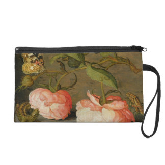 A Still Life with Roses on a Ledge Wristlet Purse